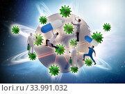 Купить «Coronavirus covid-19 pandemic concept with doctor», фото № 33991032, снято 11 июля 2020 г. (c) Elnur / Фотобанк Лори