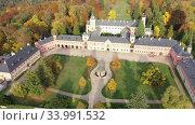 Купить «Fall view from drone of medieval Sychrov Castle, Czech Republic», видеоролик № 33991532, снято 18 октября 2019 г. (c) Яков Филимонов / Фотобанк Лори