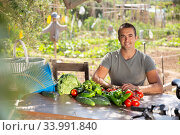 Successful young gardener sitting at table outdoors. Стоковое фото, фотограф Яков Филимонов / Фотобанк Лори