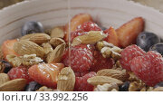Купить «Slow video process of pouring natural honey into bowl with grano», видеоролик № 33992256, снято 2 июля 2020 г. (c) Ярослав Данильченко / Фотобанк Лори