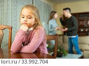 Parents and daughter quarrel in home. Стоковое фото, фотограф Яков Филимонов / Фотобанк Лори