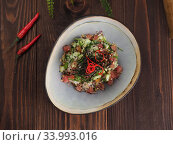 Fresh rice salad with tuna and vegetables in a bowl close up shoot. Стоковое фото, фотограф Алексей Кокорин / Фотобанк Лори