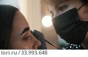 Filling in the eyebrow with tinted dark brown dye on the master class. Стоковое видео, видеограф Константин Шишкин / Фотобанк Лори