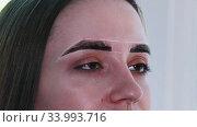 Brow master filling in the eyebrow with tinted dark dye. Стоковое видео, видеограф Константин Шишкин / Фотобанк Лори