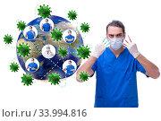Купить «Coronavirus covid-19 pandemic concept with doctor», фото № 33994816, снято 11 июля 2020 г. (c) Elnur / Фотобанк Лори