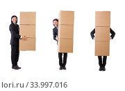 Купить «Funny man with boxes on white», фото № 33997016, снято 23 октября 2013 г. (c) Elnur / Фотобанк Лори