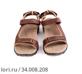 Купить «A sport brown sandals isolated on the white background», фото № 34008208, снято 11 июля 2020 г. (c) age Fotostock / Фотобанк Лори