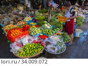 Купить «Fruit and vegetable stalls, Somphet Market, old town, Chiang Mai, Thailand.», фото № 34009072, снято 17 декабря 2019 г. (c) age Fotostock / Фотобанк Лори