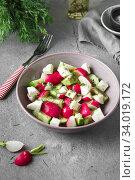 Купить «Radish, cucumber, kiwi, cheese and dill salad in a bowl on gray grunge concrete background. Seasonal Cooking, food styling.», фото № 34019172, снято 11 апреля 2019 г. (c) Nataliia Zhekova / Фотобанк Лори