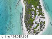 Купить «Aerial view of Eco camp on Wizard Island on Cosmoledo Atoll, Seychelles», фото № 34019864, снято 5 июля 2020 г. (c) Nature Picture Library / Фотобанк Лори