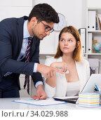 Купить «Manager scolding frustrated female», фото № 34029988, снято 1 июня 2017 г. (c) Яков Филимонов / Фотобанк Лори