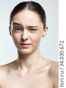 Купить «Headshot of emotional female face portrait with wink.», фото № 34030672, снято 8 мая 2020 г. (c) Serg Zastavkin / Фотобанк Лори