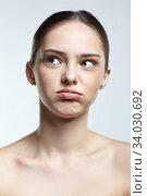 Купить «Headshot of emotional female face portrait with tired of everything and misunderstanding facial expression.», фото № 34030692, снято 8 мая 2020 г. (c) Serg Zastavkin / Фотобанк Лори