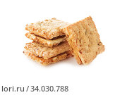 Купить «Shortbread cookies of different shapes with stuffing and without isolated on white», фото № 34030788, снято 22 мая 2018 г. (c) Nataliia Zhekova / Фотобанк Лори