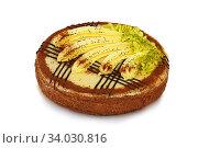 Купить «biscuit cake decorated with cream banana», фото № 34030816, снято 15 января 2016 г. (c) Nataliia Zhekova / Фотобанк Лори