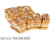 peanut cake decorated with cream glaze. Стоковое фото, фотограф Nataliia Zhekova / Фотобанк Лори