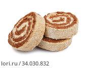 Купить «Slices of sweet roll cake isolated on white background», фото № 34030832, снято 18 января 2016 г. (c) Nataliia Zhekova / Фотобанк Лори