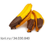 Jam filled cookies with chocolate in the shape of a banana. Стоковое фото, фотограф Nataliia Zhekova / Фотобанк Лори