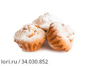 A confection isolated on a white background. Sweet cakes, cookies, muffins, shortbread cookies. Стоковое фото, фотограф Nataliia Zhekova / Фотобанк Лори