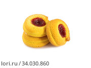 A confection isolated on a white background. Sweet cakes, cookies, muffins, shortbread cookies in front of a white background. Стоковое фото, фотограф Nataliia Zhekova / Фотобанк Лори