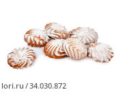 Купить «cookies with powdered sugar isolated on white background», фото № 34030872, снято 4 февраля 2016 г. (c) Nataliia Zhekova / Фотобанк Лори