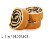 Купить «Slices of sweet roll cake isolated on white background», фото № 34030908, снято 6 апреля 2017 г. (c) Nataliia Zhekova / Фотобанк Лори