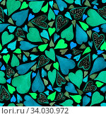 Купить «Watercolor seamless pattern with heart. Bright background.», фото № 34030972, снято 15 июля 2020 г. (c) Nataliia Zhekova / Фотобанк Лори