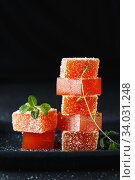 Купить «Homemade multicolored marmalade candy in sugar on dark background. Fruit jelly candies. Fruit chewy candy. Jelly Bean. Assortment of colorful fruit jelly candy. Copy space», фото № 34031248, снято 11 декабря 2019 г. (c) Nataliia Zhekova / Фотобанк Лори