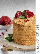 Купить «Homemade honey cake decorated with pomegranate berries and mint leaves.», фото № 34031328, снято 6 февраля 2019 г. (c) Nataliia Zhekova / Фотобанк Лори
