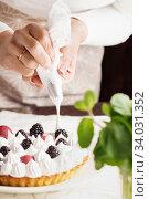 Купить «Beautiful freshly made berry meringue tart on plate. Stunning Blackberry meringue pie still life composition. Food photo. Process of making tart. Closeup hands of chef with confectionery bag», фото № 34031352, снято 9 февраля 2019 г. (c) Nataliia Zhekova / Фотобанк Лори