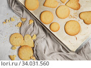 Купить «Biscuit with Danish style butter cookies and honey flavored. A stack of crunchy delicious sweet meal and useful cracker.», фото № 34031560, снято 7 февраля 2019 г. (c) Nataliia Zhekova / Фотобанк Лори
