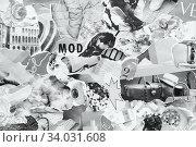 Купить «Handmade contemporary collage made of magazines and colorful paper.», фото № 34031608, снято 11 апреля 2019 г. (c) Nataliia Zhekova / Фотобанк Лори