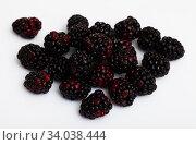 Купить «Fresh blackberries on white surface», фото № 34038444, снято 10 июля 2020 г. (c) Яков Филимонов / Фотобанк Лори