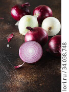 Купить «red onions. Red onion halves. Food Ingredients», фото № 34038748, снято 29 июля 2019 г. (c) Nataliia Zhekova / Фотобанк Лори