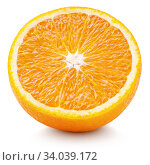 Half of orange citrus fruit isolated on white. Стоковое фото, фотограф Роман Самохин / Фотобанк Лори