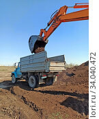 Купить «Excavator machine loading soil into truck body by scoop. Modern loading equipment. Fertile soil transportation. Excavator at work. earthmoving works. Outdoor work. Excavator digging soil.», фото № 34040472, снято 26 апреля 2020 г. (c) age Fotostock / Фотобанк Лори