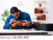 Купить «Young male repairman repairing violin», фото № 34045448, снято 25 октября 2019 г. (c) Elnur / Фотобанк Лори