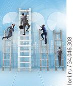 Купить «Career progression concept with various ladders», фото № 34046308, снято 4 июля 2020 г. (c) Elnur / Фотобанк Лори