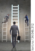 Купить «Career progression concept with various ladders», фото № 34046312, снято 5 июля 2020 г. (c) Elnur / Фотобанк Лори