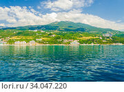 Вид с моря на Южный берег Крыма (2019 год). Стоковое фото, фотограф Megapixx / Фотобанк Лори