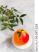 Купить «Mousse dessert in the shape of a pear fruit, orange fruit, apricot, lemon and cherry.», фото № 34047624, снято 1 февраля 2020 г. (c) Nataliia Zhekova / Фотобанк Лори