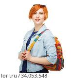 Купить «Portrait of diligent girl student university or college Isolated on white background», фото № 34053548, снято 2 апреля 2015 г. (c) Nataliia Zhekova / Фотобанк Лори