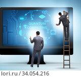 Concept of quantum computing with businessman. Стоковое фото, фотограф Elnur / Фотобанк Лори