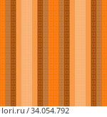 Seamless geometric striped checkered bright orange pattern stylish background, wallpaper with an ornament of colorful stripes, squares, fabric design, wrapping paper, packaging, tablecloths, covers. Стоковая иллюстрация, иллюстратор Светлана Евграфова / Фотобанк Лори
