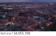Купить «Aerial view of modern landscape of Polish city of Katowice on spring evening, Silesian Voivodeship», видеоролик № 34055708, снято 10 июля 2020 г. (c) Яков Филимонов / Фотобанк Лори