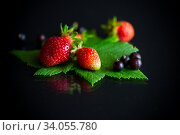 ripe red strawberries and berries of black currant. Стоковое фото, фотограф Peredniankina / Фотобанк Лори