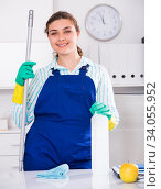 Woman cleaner is ready to clean the cabinet. Стоковое фото, фотограф Яков Филимонов / Фотобанк Лори