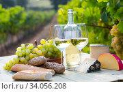 Wine, baguette, cheese against vineyard landscape. Стоковое фото, фотограф Яков Филимонов / Фотобанк Лори