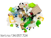 rubbish prepared for recycling isoalted on white background. Стоковое фото, фотограф Константин Лабунский / Фотобанк Лори