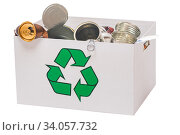 Recycle canned and box environment conservation ion white background. Стоковое фото, фотограф Константин Лабунский / Фотобанк Лори